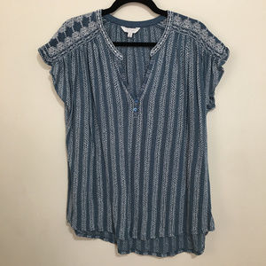 LUCKY BRAND split button neck embroidered top